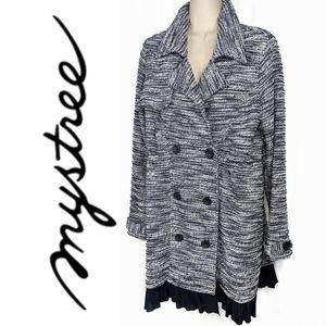 Mystree Navy Marled Double Breast Sweater Coat ML